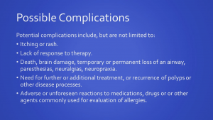 This image is a list of possible complications that can occur during an allergy test.