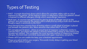 This image is a list of the types of allergy testing we offer. Contact our office if you have any questions